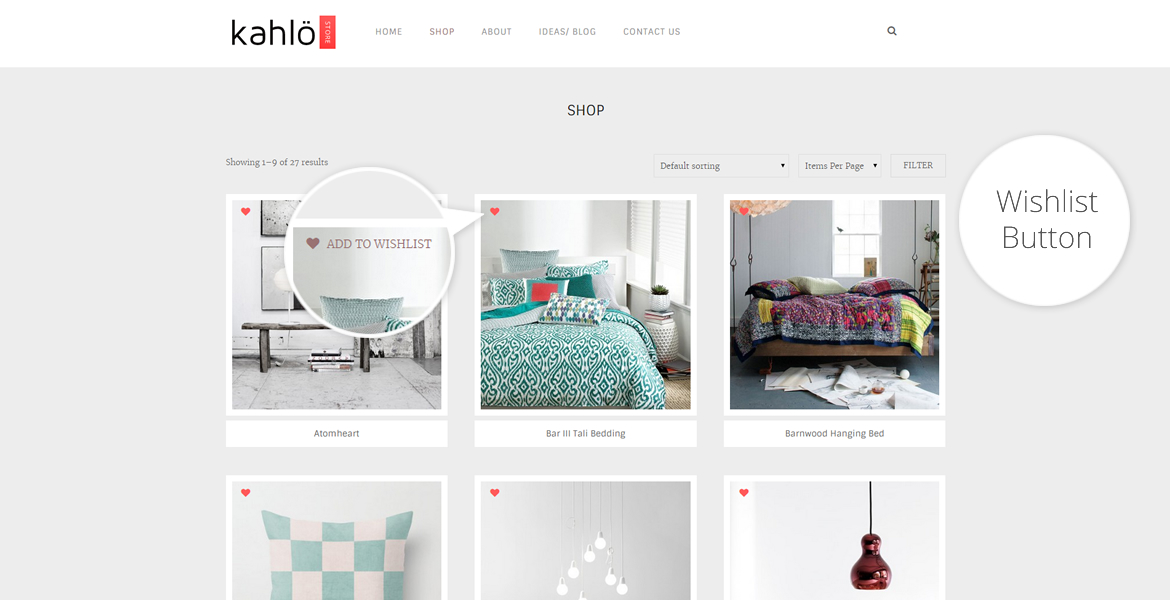 kahlo online shop template-add to wishlist