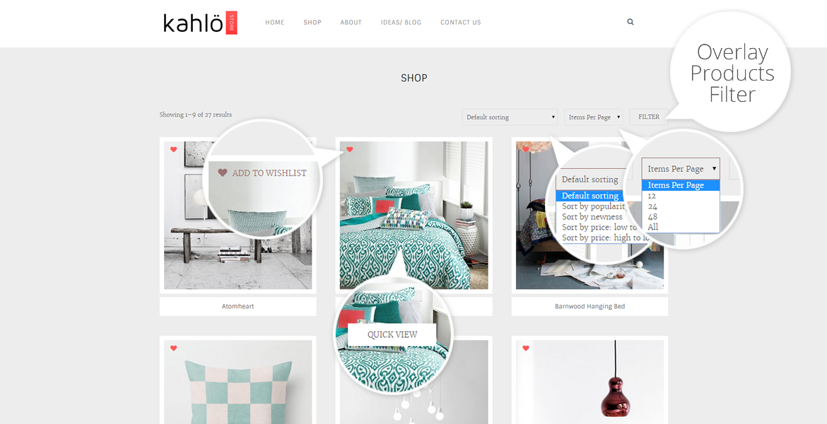 kahlo online shop template-options