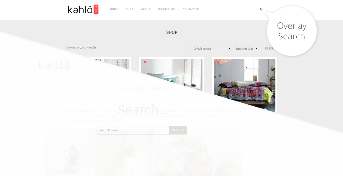 kahlo online shop template-overlay search