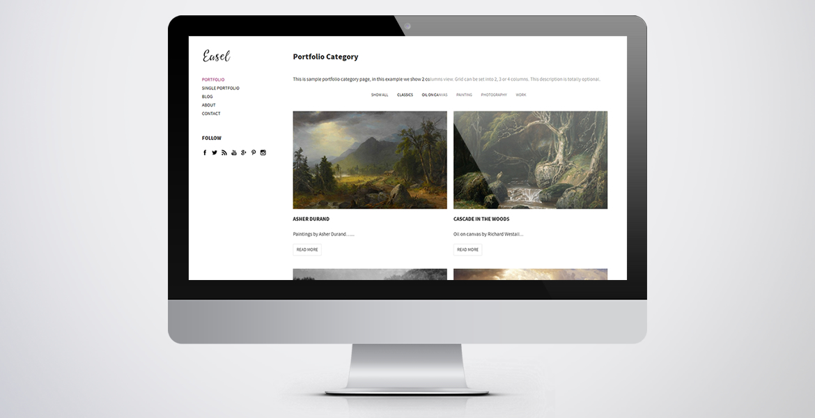 Easel - Minimal Blog, Portfolio & Artist WordPress Theme