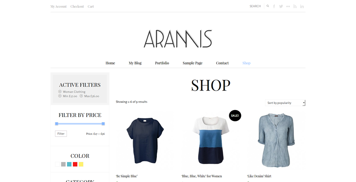 aramis-wordpress-theme-sorting-options