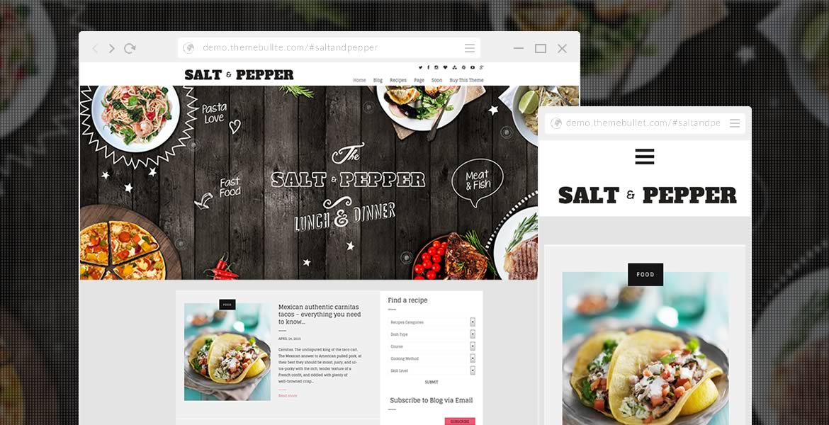 Food recipes wordpress theme salt pepper salt and pepper preview forumfinder Image collections