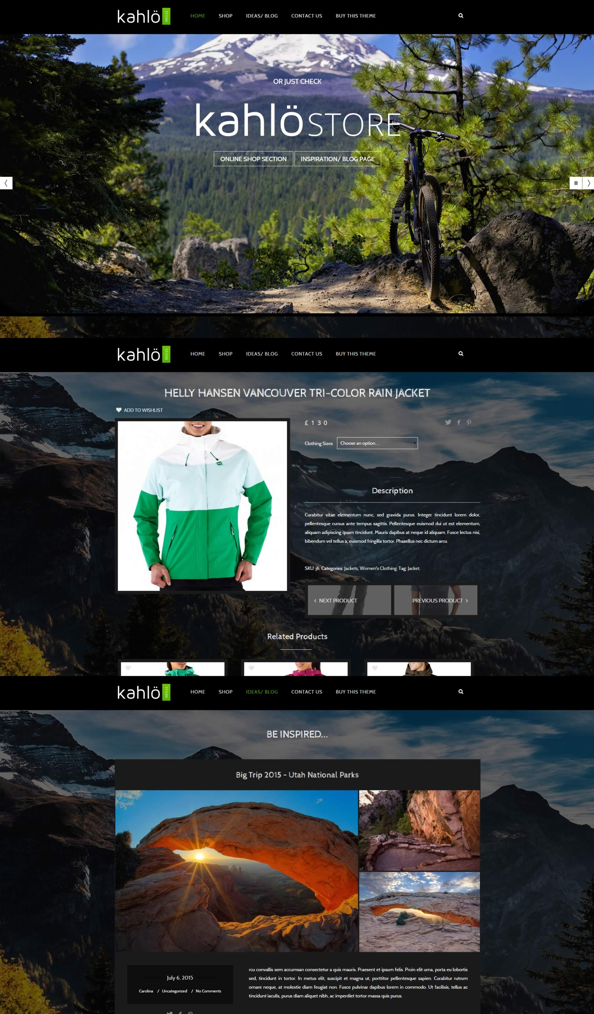 Kahlo Outdoors Store Template For WordPress & WooCommerce